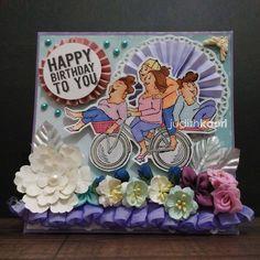 Pedal Pushers Set (Sku#4238) Art Impressions Girlfriends. Handmade card. bike, bicycle, birthday
