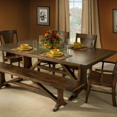 Amish Furniture – KC Collections Rustic Log Furniture, Mission Furniture, Hardwood Furniture, Amish Furniture, Dining Room Furniture, Dining Room Table, Dining Set, Furniture Making, Maple Furniture