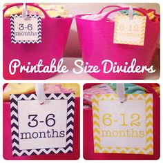 Printable nursery clothing size dividers