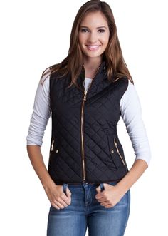 Quilted Padded Zipper Vest J1409B, clothing, clothes, womens clothing, jeans, tops, womens dress