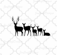 Deer Family SVG Cut Files Svg, Png, Dxf and Eps Cricut Design Space and Silhouette Studio. Vinyl Car Decal.
