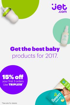 Save big on your little one at Jet.com. Get 15% off your first 3 orders using code TRIPLE15*. Plus, enjoy 2-day delivery on thousands of everyday essentials.