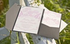 Laura + Andrew's Pink and Gray Floral Wedding Invitations | Christa Alexandra | Photo Credits: Christa White