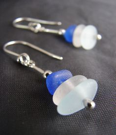 Sea Stack beach glass earrings in cobalt blue, aqua and white / sea glass jewelry by Sea Glass Designs