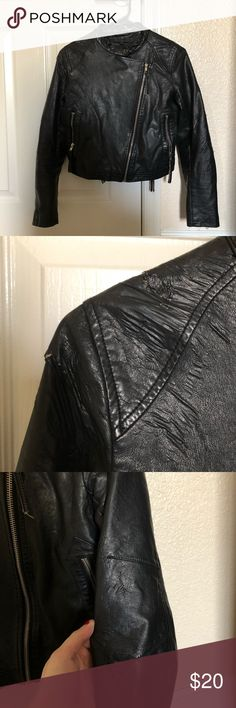 Lucca Couture black leather motorcycle jacket Worn condition. A few small rips but not noticeable when wearing. Part of the inside seam is ripped but does not affect the exterior appearance of the jacket. See photos for details. Will best fit XS-S. Jackets & Coats