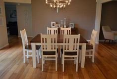 TWO TONE LEURA 6 - 7 PC FRENCH PROVINCIAL TIMBER DINING SETTING IN BRUSHED WHITE WITH AUTUMN SPICE TOP BAYGALDS436