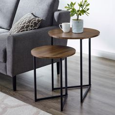 New Walker Edison Furniture Company Modern Round Metal Base Nesting Set Side Accent Living Room Storage Small End Table Set 2 Walnut Brown online Thetrendyclothes Rustic Side Table, Wooden Side Table, Living Room Side Table, Table Decor Living Room, Metal Side Table, Side Table Wood, Side Table Decor Living Room, Modern Table, Side Table Decor