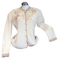 Weiße extravagant bestickte #Jacke Strickjacke #Alpakawolle: