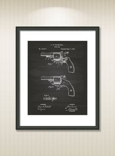 This reproduction was digitally restored and in some cases altered to remove defects or unwanted artifacts present in the original #patent document.  Buy more and save! Buy ... #patentart #art #print #gift #digital #download #instant #printable #vintage #gun #military #revolver