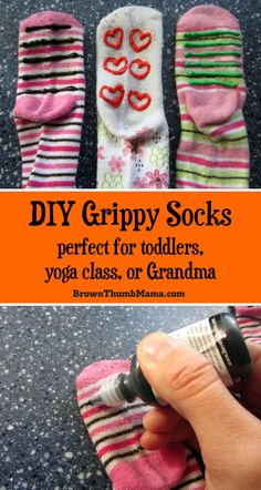 Grippy socks aren't just for toddlers.these no-skid socks are easy to make and give steady footing for kids, Grandma, or in yoga class. Sewing Projects For Kids, Sewing For Kids, Diy For Kids, Diy Projects, Grippy Socks, How To Make Socks, Non Slip Socks, Daisy, Fabric Purses