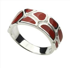 Red Coral and 925 Sterling Silver Ring