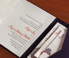 Purple and orange make the perfect combination for these fall themed letterpress wedding invitations.