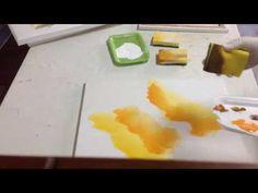 Pequena amostra de como pintar telas com esponja com Luiza Sartori video 1. - YouTube