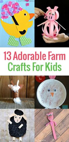13 Adorable Farm Crafts For Kids Are you teaching a unit about life on the farm or hosting a farm themed birthday party for your little one? Then check out these 13 Adorable Farm Crafts for Kids ideal for preschool – early elementary age kids. Farm Theme Crafts, Farm Animal Crafts, Animal Crafts For Kids, Crafts For Kids To Make, Toddler Crafts, Animals For Kids, Farm Animals, Easy Crafts, Kids Diy