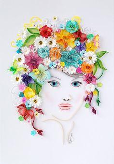 "Originele unieke Quilling tekening kunst: ""Flower Girl"" Paper Art, Framed, Free-standing frame, kunst aan de muur en Deco, parels, Diamante Gems"