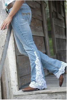 Medium Wash white lace jeans