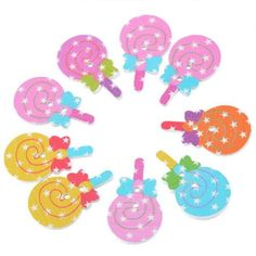 50PCs Wooden Buttons Lollipop Shaped Randomly Mixed 2-hole Sewing Scrapbooking