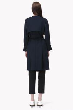 Collarless trench coat