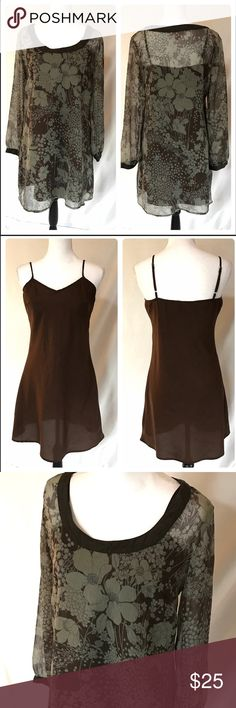 """Brown Green Sheer Floral Tunic Cami Slip Dress L Misty gray green and brown Floral Sheer Tunic mini dress with separate brown Cami Slip.  Listing includes both pieces.  Layer for Loose, comfortable and stylish look. Brown trim on Rounded neckline and cuffs.  Cami Slip has adjustable straps. Both pieces 100% polyester.  Size Large.  Approx measurements Dress:   Chest across laying flat 20"""", length 34"""", sleeve length from top of shoulder at seam to cuff 23"""".   In excellent condition.  Only…"""