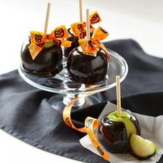 Halloween Black Poison Mini Caramel Apples