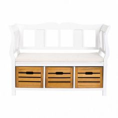 Modern Storage Bench Organizer Furniture Wooden Seat Pillow Lounge White Brown #ModernStorageBench #Modern