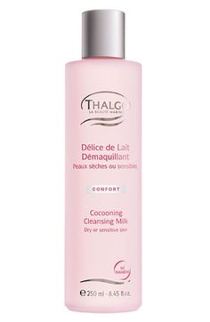 Thalgo Cocooning Cleansing Milk - for sensitive skins. No parabens. Yay for my new cleanser. It makes my skin feel so soft & fresh! Cleanser, Moisturizer, Lotion Tonique, Cleansing Milk, Cotton Pads, Sensitive Skin, Hair Care, How To Apply, Bottle