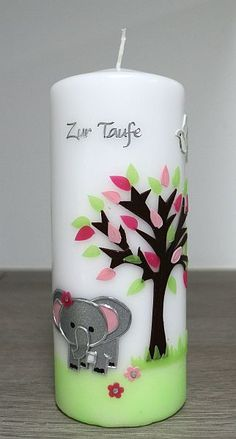 Taufkerze in zarten rosa/grün Tönen mit süßem Elefanten Pillar Candles, Pink, Elephants, Communion, Candles, Decorating, Creative, Wedding
