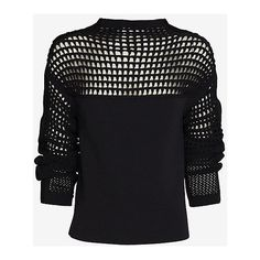 Helmut Lang Micro Grid Crop Sweater ($99) ❤ liked on Polyvore featuring tops, sweaters, shirts, jumper, cropped sweater, layering shirts, crop shirt, shirt sweater and cut-out crop tops