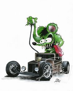 Hot Rod and Race Car Lettering, Pinstriping, Car Show Signs, Restoration Lettering, Logos and more. Ed Roth Art, Cartoon Rat, Pin Up, Old Muscle Cars, Weird Cars, Crazy Cars, Motorcycle Art, Bike Art, Rat Fink