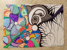 """Art """"Spiral Out"""" - Ink and Paper - 4"""" x 3"""""""