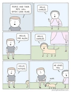 People And Their Pets Will Often Look Alike - Poorly Drawn Lines Funny Animal Comics, Cute Comics, Funny Comics, Funny Animals, Funny Comic Strips, Best Comic Books, Book People, Sarcastic Humor, Funny Games