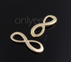 8pcs-23mmX8mm 14K Gold plated over Brass Infinity Charm/Connector(K290G)