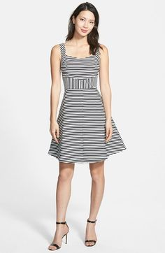 Halogen® Contrast Back Stripe Sleeveless Fit & Flare Dress (Regular & Petite) available at #Nordstrom