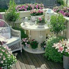 Apartment Balcony Ideas - What a beautiful little corner. Duplicate it easily on your own balcony.