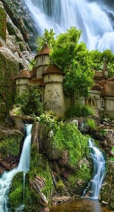 Waterfall castle in Poland""