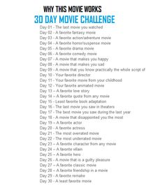 30 Day Movie Challenge - journal prompts for writing about movies 30 Day Challenge Journal, Thigh Challenge, Plank Challenge, Challenge Accepted, Challenge For Teens, 30 Day Writing Challenge, Disney Challenge, Monthly Challenge, Journal Prompts