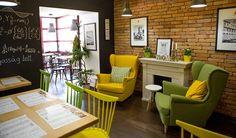 Marica Coffee House - Veszprém, Hungary / 2016 #interiordesign #cafe #interior #lounge #contract #furniture #b2b #retail #yellowlounge #greenchairs Bistro Interior, Cafe Interior, Interior Design, Coffee Shop, Lounge, Contract Furniture, Hungary, Retail, Interiors