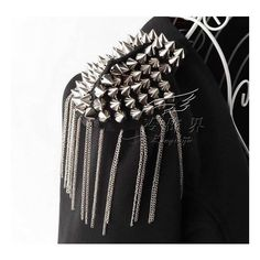 Spike Tassel Badge (13 CAD) ❤ liked on Polyvore featuring jewelry, brooches, womens jewellery, brooch, broach, silver jewelry and silver brooch