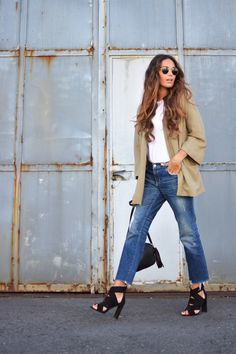 khaki blazer + DIY jeans
