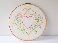 Folk style hand embroidery with hearts and birds by Hextrovert Folk Style, Folk Fashion, Hand Embroidery, Hoop, Whimsical, My Etsy Shop, Cross Stitch, Hearts, Crafting