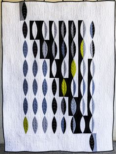 "Beautiful shapes, contrast, texture, and pop of color.  Sara Kelly Art Quilts: Solid Attempt 60"" x 60"" and Leaf Pods 44"" x 59"""