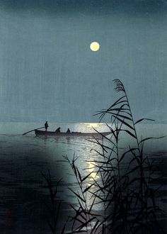 Kazuyuki Ohtsu - Moonlit Sea (woodblock print)