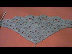 Πλεξη Κοχυλι σε Τριγωνο (για σαλι) / Crochet Shell Stitch in a Triangle Tutorial (english subs) - YouTube