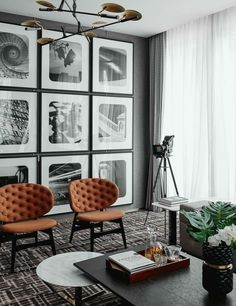 living room | masculine interior | black + white gallery wall | leather accent chairs | interior design | interior decor #officefurniturechairinteriordesign
