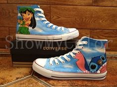 Stitch anime Custom Converse, Lilo and Stitch hand painted shoes, high top Shoes Cute Converse, Converse Sneakers, Vans Shoes, Converse High, Painted Canvas Shoes, Hand Painted Shoes, Painted Converse, All Star, Lilo Y Stitch