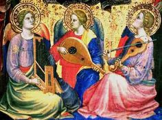Mariotto de Nardo (1394-1424) Virgin & Child, Detail Angel musicians, ca 1400 portative organ, lute, and another stringed instrument