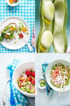 Tarragon-flavored fava bean and green pea tartine