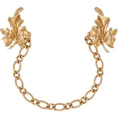 Susan Caplan Vintage 1950s Trifari Gold Plated Leaf Chatelaine Brooch,... ($255) ❤ liked on Polyvore featuring jewelry, brooches, gold plated jewellery, gold brooch, vintage broach, gold leaf jewelry and gold chain jewelry