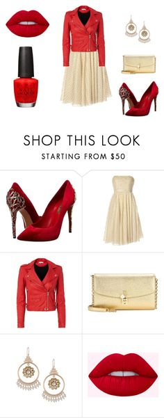 """""""Classic Gryffindor edge"""" by kinleylb on Polyvore featuring Casadei, Notte by Marchesa, IRO, Dolce&Gabbana and OPI"""