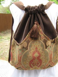 Classic Brown Medallion Backpack Boho Backpack Renaissance Backpack Brown Book Bag Backpacks Back Pack – Purses And Handbags Boho Sacs Tote Bags, Backpack Bags, Reusable Tote Bags, Handmade Handbags, Handmade Bags, Mochila Hippie, Moda Hippie Chic, Boho Bags, Fabric Bags